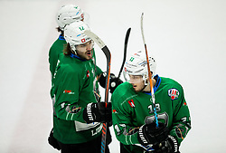 Janez Orehek of SZ Olimpija and Aljaz Chvatal of SZ Olimpijac celebrate during Ice Hockey match between HK SZ Olimpija and EHC Alge Elastic Lustenau in Semifinal of Alps Hockey League 2018/19, on April 1, 2019, in Arena Tivoli, Ljubljana, Slovenia. Photo by Vid Ponikvar / Sportida