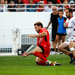 Vincent Clerc of Toulon and Frederic Michalak of Lyon during the pre-season match between Rc Toulon and Lyon OU at Felix Mayol Stadium on August 17, 2017 in Toulon, France. (Photo by Guillaume Ruoppolo/Icon Sport)