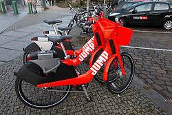 Jump electric rental bicycles on street in Berlin, Germany