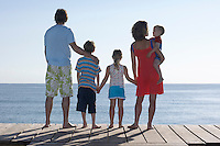 Family with three children (2-11) on jetty