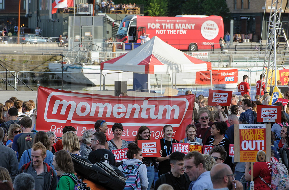© Licensed to London News Pictures.  31/05/2017; Bristol, UK. General Election 2017; A rally in support of the NHS takes place at the Lloyds Amphitheatre in Bristol Docks. Jeremy Corbyn had been due to speak but took part in a TV debate instead, and speakers included shadow secretary of state for health Jonathan Ashworth, and shadow secretary of state for education Angela Rayner. The event was introduced by actor Paul McGann. Picture credit : Simon Chapman/LNP