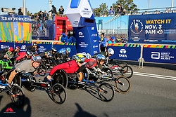 mens wheelchair start, David Weir, Daniel Romanchuk, Marcel Hug<br /> TCS New York City Marathon 2019