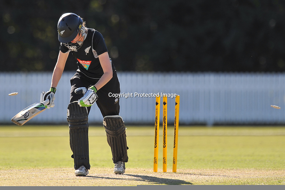 Amy Satterthwaite is clean bowled by Sarah Coyte without scoring ~ Game 7 (ODI) of the Rose Bowl Trophy Cricket played between Australia and New Zealand at Alan Border Field in Brisbane (Australia) ~ Thursday 16th June 2011 ~ Photo : Steven Hight (AURA Images) / Photosport