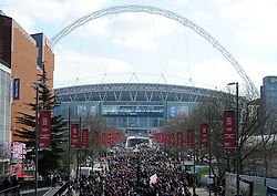 Fans walk up Wembley Way towards Wembley Stadium - Photo mandatory by-line: Dougie Allward/JMP - Mobile: 07966 386802 - 22/03/2015 - SPORT - Football - London - Wembley Stadium - Bristol City v Walsall - Johnstone Paint Trophy Final