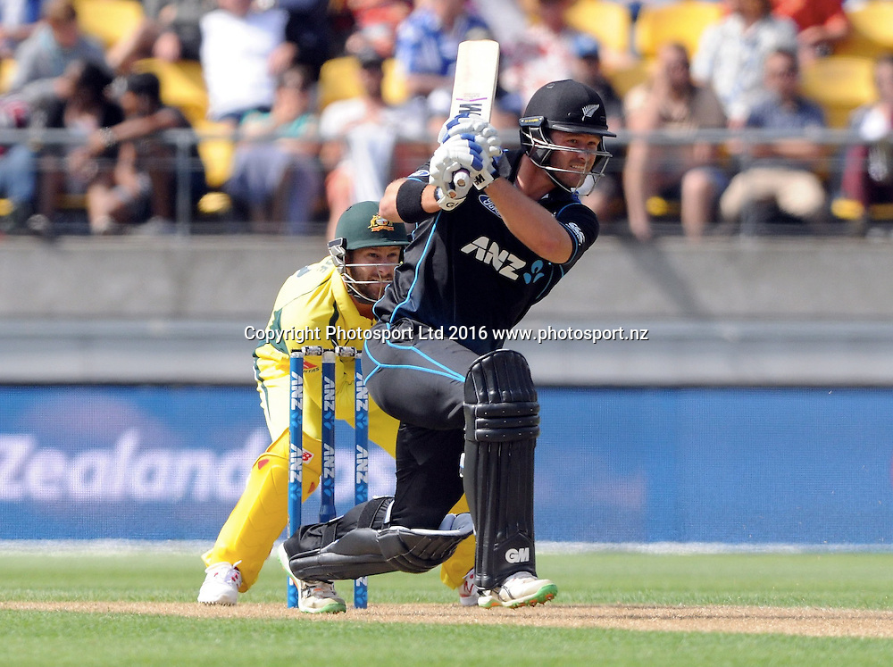 New Zealands Corey Anderson in action in the 2nd match of the Chappell-Hadlee ODI series, New Zealand vs Australia, Westpac Stadium, Wellington, Saturday, February, 06, 2016. Copyright photo: Kerry Marshall / www.photosport.nz