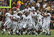 November 10 2012: The Purdue Boilermakers celebrate their game winning 46 yard field goal after the end of the NCAA football game between the Purdue Boilermakers and the Iowa Hawkeyes at Kinnick Stadium in Iowa City, Iowa on Saturday, November 10, 2012. Purdue defeated Iowa 27-24.