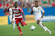 FRISCO, TX - JULY 13:  Yordany Alvarez #14 of Real Salt Lake is defended by Jair Benitez #5 of FC Dallas on July 13, 2013 at FC Dallas Stadium in Frisco, Texas.  (Photo by Cooper Neill/Getty Images) *** Local Caption *** Yordany Alvarez; Jair Benitez