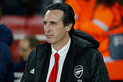 Arsenal Head Coach Unai Emery during the Europa League match between Arsenal and Eintracht Frankfurt at the Emirates Stadium, London, England on 28 November 2019.