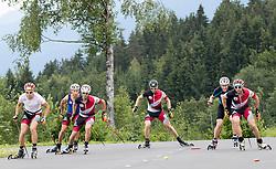 08.06.2016, Alpenarena, Villach, AUT, OeSV, Nordische Kombination, Trainingslager, Skiroller Technik- und Koordinationseinheit, im Bild v.l. Mario Seidl (AUT), Lukas Klapfer (AUT), David Pommer (AUT), Bernhard Gruber (AUT), Willi Denifl (AUT), Franz Josef Rehrl (AUT) // v.l. Mario Seidl (AUT), Lukas Klapfer (AUT), David Pommer (AUT), Bernhard Gruber (AUT), Willi Denifl (AUT), Franz Josef Rehrl (AUT) during Skiroller technical and coordination unit Training of Austrian Ski federation Nordic Combined Team at the Alpenarena, Villach, Austria on 2015/06/08. EXPA Pictures © 2016, PhotoCredit: EXPA/ Johann Groder