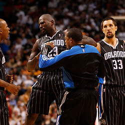 March 3, 2011; Miami, FL, USA; Orlando Magic shooting guard Jason Richardson (23) celebrates with teammates after hitting a shot during the fourth quarter against the Miami Heat at the American Airlines Arena. The Magic defeated the Heat 99-96.    Mandatory Credit: Derick E. Hingle