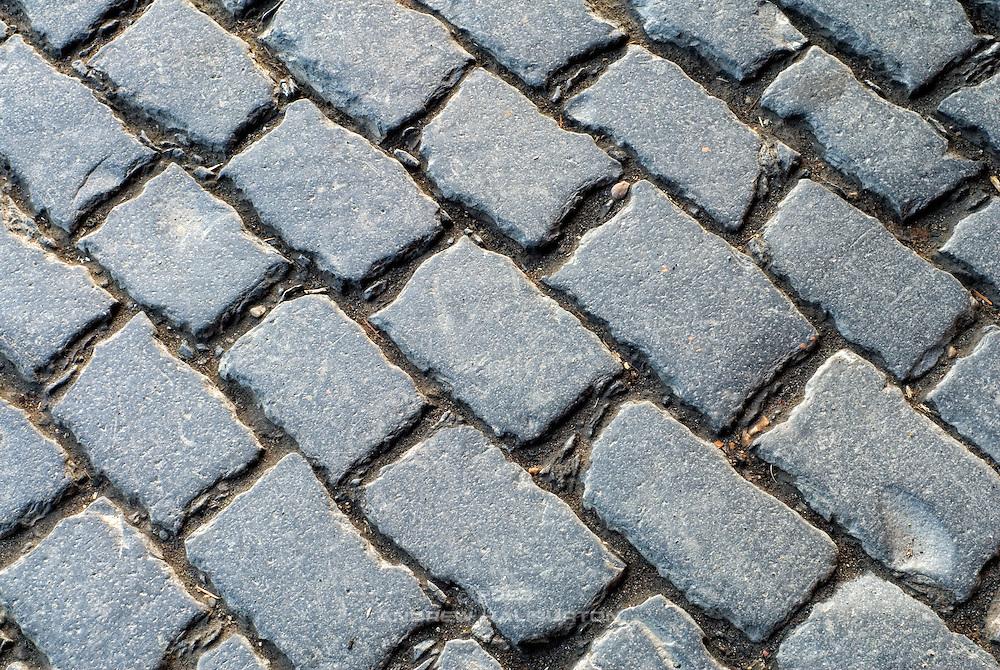 Cobblestones on SE Belmont Street, Portland, Oregon.