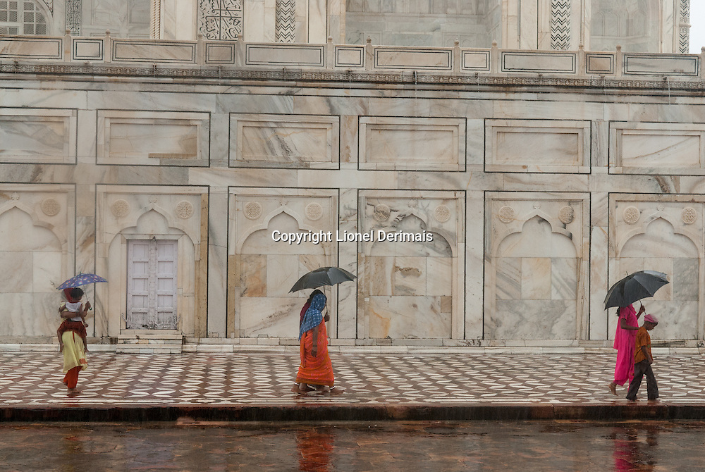 Taj Mahal on a rainy day. Agra, India.