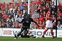 Photo: Pete Lorence.<br />Nottingham Forest v Scunthorpe United. Coca Cola League 1. 07/10/2006.<br />Scunthorpe's Cleveland Taylor celebrates scoring the opening goal of the match.