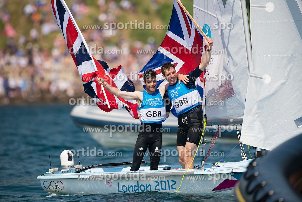 10.08.2012, Bucht von Weymouth, GBR, Olympia 2012, Segeln, im Bild Bithell Stuart, Patience Luke, (GBR, 470 Men) // during Sailing, at the 2012 Summer Olympics at Bay of Weymouth, United Kingdom on 2012/08/10. EXPA Pictures © 2012, PhotoCredit: EXPA/ Juerg Kaufmann ***** ATTENTION for AUT, CRO, GER, FIN, NOR, NED, .POL, SLO and SWE ONLY!