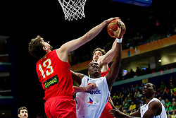 Ali Traore of France between Marc Gasol of Spain  and Pau Gasol of Spain during basketball game between National basketball teams of France and Spain at FIBA Europe Eurobasket Lithuania 2011, on September 11, 2011, in Siemens Arena,  Vilnius, Lithuania.  (Photo by Vid Ponikvar / Sportida)