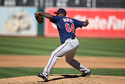 OAKLAND, CA - SEPTEMBER 22: Shairon Martis #64 of the Minnesota Twins pitches against the Oakland Athletics during the third inning at O.co Coliseum on September 22, 2013 in Oakland, California. The Oakland Athletics defeated the Minnesota Twins 11-7 as they clinched the American League West Division. (Photo by Jason O. Watson/Getty Images) *** Local Caption *** Shairon Martis