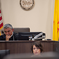 Judge James Sanchez tries to hold emotions back as he listens to the statements form the victim and family during the sentencing trial of Deborah Green. The trial was held at the Thirteenth Judicial District Court Wednesday afternoon in Grants.