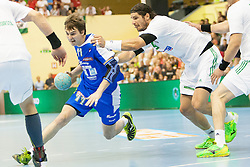 Sebastian Skube #11 of Slovenia and Laszlo Nagy #19 of Hungary during handball match between National teams of Slovenia and Hungary in play off of 2015 Men's World Championship Qualifications on June 15, 2014 in Rdeca dvorana, Velenje, Slovenia. Photo by Urban Urbanc / Sportida