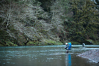 Fly fishing on the Kilchis River, near Tillamook, Oregon.