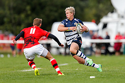 Bristol Rugby Winger Charlie Amesbury is challenged by London Welsh Winger Martyn Thomas 6r- Mandatory byline: Rogan Thomson/JMP - 07966 386802 - 13/09/2015 - RUGBY UNION - Old Deer Park - Richmond, London, England - London Welsh v Bristol Rugby - Greene King IPA Championship.