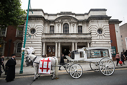 © Licensed to London News Pictures . 30/06/2017 . Stockport , UK . The funeral of Martyn Hett at Stockport Town Hall . Martyn Hett was 29 years old when he was one of 22 people killed on 22 May 2017 in a murderous terrorist bombing committed by Salman Abedi, after an Ariana Grande concert at the Manchester Arena . Photo credit : Joel Goodman/LNP