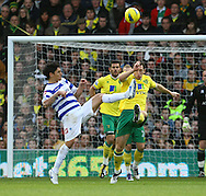 Picture by Paul Chesterton/Focus Images Ltd.  07904 640267.26/11/11.Alejandro Faurlín of QPR and Andrew Crofts of Norwich in action during the Barclays Premier League match at Carrow Road Stadium, Norwich.