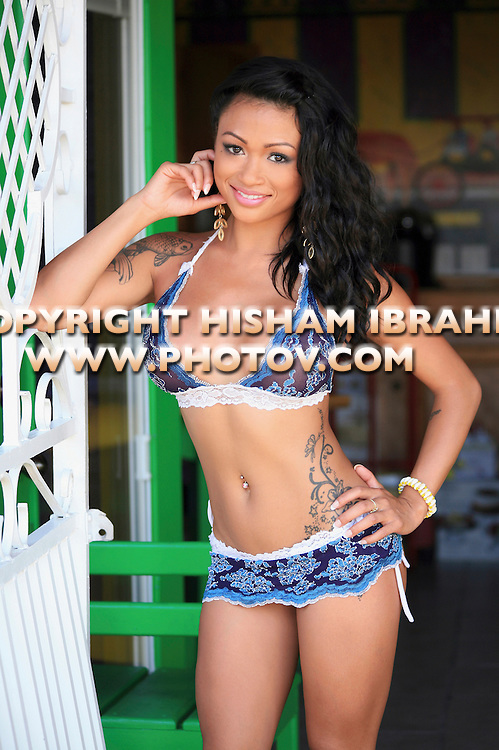 Sexy young Asian woman in Blue bikini, Freeport, Bahamas