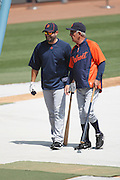 LOS ANGELES - JUNE 22:  Manager Jim Leyland #10 (right) of the Detroit Tigers talks to Alex Avila #13 of the Tigers during batting practice during the game against the Los Angeles Dodgers at Dodger Stadium on Wednesday, June 22, 2011 in Los Angeles, California.  The Tigers defeated the Dodgers 7-5.  (Photo by Paul Spinelli/MLB Photos via Getty Images) *** Local Caption *** Jim Leyland;Alex Avila