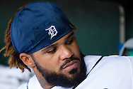 April 21, 2012; Detroit, MI, USA; Detroit Tigers first baseman Prince Fielder (28) in the dugout before the game against the Texas Rangers at Comerica Park. Mandatory Credit: Rick Osentoski-US PRESSWIRE