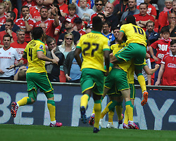 Norwich Celebrate, their second goal by Nathan Redmond, Middlesbrough v Norwich, Sky Bet Championship, Play Off Final, Wembley Stadium, Monday  25th May 2015
