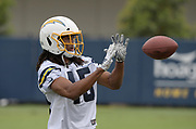 Jun 13, 2019; Costa Mesa, CA, USA:  Los Angeles Chargers cornerback Bradford Lemmons (45) catches a pass during minicamp at the Hoag Performance Center.