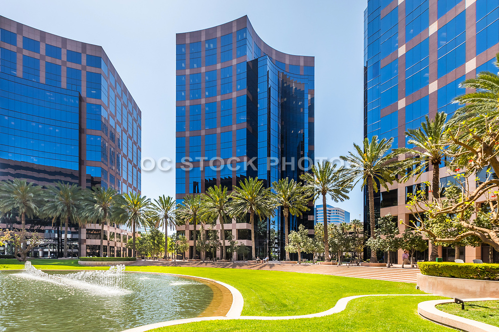 Courtyard And Water Fountain At The Irvine Business Complex
