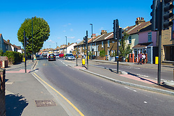 Mitcham Road at the junction of Sumner Road in Croydon where a Hiline Cash and Carry manager  was left in a critical condition after suffering heart failure as he tried to wrestle with ram-robbers to save the takings they were after. Croydon, September 13 2018.