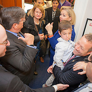 Rep. Josh Gottheimer (D-NJ, 15) was officially sworn into the House of Representatives and supporters swarmed his new Congressional office to wish him well on Wednesday January 3, 2017.  John Boal photo/for The Record