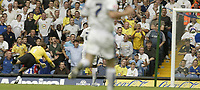Photo: Aidan Ellis.<br /> Leeds United v Hartlepool United. Coca Cola League 1. 08/09/2007.<br /> hartlepool's keeper Jan Budtz can only watch as Jermain Beckford lob goes in for the sedcond goal