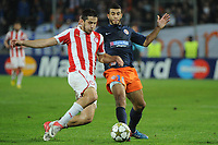 FOOTBALL - UEFA CHAMPIONS LEAGUE 2012/2013 - GROUP STAGE - GROUP B - MONTPELLIER HSC v OLYMPIACOS - 24/10/2012 - PHOTO SYLVAIN THOMAS / DPPI - YOUNES BELHANDA (MHSC) / KOSTAS MANOLAS (OFC)