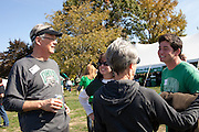 Jerry Esselstem, left, chats during the College of Business tailgating party during homecoming weekend on Saturday, October 13, 2012..Photo by Chris Franz