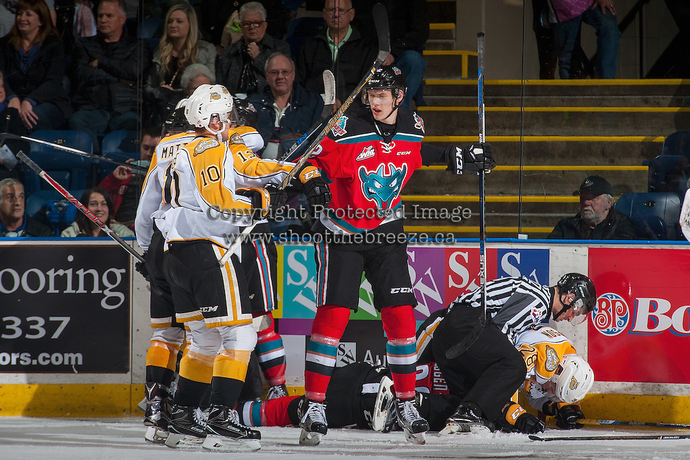 KELOWNA, CANADA - DECEMBER 3: Braydyn Chizen #22 of the Kelowna Rockets gets in the face of Kale Clague #10 of the Brandon Wheat Kings on December 3, 2016 at Prospera Place in Kelowna, British Columbia, Canada.  (Photo by Marissa Baecker/Shoot the Breeze)  *** Local Caption ***