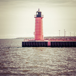 Milwaukee Pierhead Lighthouse retro vintage picture. The lighthouse is located in Milwaukee, Wisconsin near the Milwaukee River. Image is high resolution.
