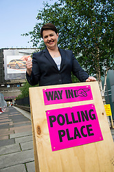 Pictured: Ruth Davidson<br /> <br /> Scottish conservative leader Ruth Davidson cast her vote  in the EU Referendum early today which will decide whether Britain should leave or reman in the EU.<br /> <br /> <br /> <br /> Ger Harley | EEm 23 June 2016