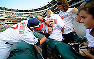 CLEVELAND, OH USA - JULY 6: Cleveland Indians first baseman Matt LaPorta signs an autograph before the game between the Cleveland Indians and the New York Yankees at Progressive Field in Cleveland, OH, USA on Wednesday, July 6, 2011.