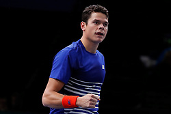 Canada's Milos Raonic playing in the second round of the BNP Paribas Tennis Masters Paris 2016, in AccorHotels Arena, Paris, France, on November 1st, 2016. Photo by Henri Szwarc/ABACAPRESS.COM
