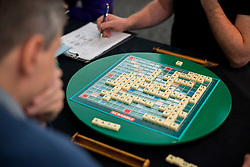 © Licensed to London News Pictures.03/11/2013. London, UK. Paul Allan (L) competes against Allan Simmons during the final of The National Scrabble Championship. Paul Allan, a teacher from Rushden, Northamptonshire, previously crowned champion in 2007 while Allan Simmons, a Scrabble consultant from Coldingham Village in the Scottish Borders, was previously crowned National Scrabble Champion in 2008.Photo credit : Peter Kollanyi/LNP