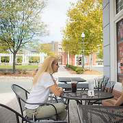 Sisters Carrie, left, of Rockville, and Ellen, of Potomac sit down for lunch at Bagel Town Deli, in Traville Village Center, on Tuesday, September 26, 2017. The Village Center sits on a peninsula of Maryland's 6th Congressional district surrounded by the 8th District, near Rockville, Maryland. Maryland's 6th District was redistricted in 2011, combining rural northern Maryland regions with more affluent communities like near Washington D.C.<br />  CREDIT: John Boal for The Wall Street Journal<br /> GERRYMANDER