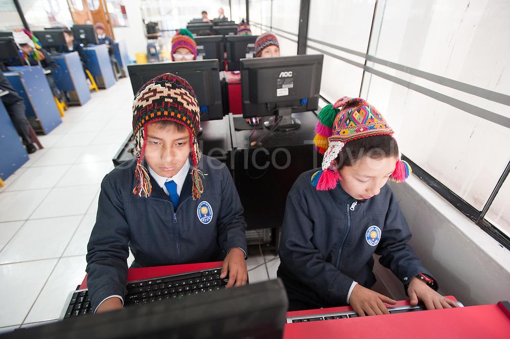 """""""chullo"""" Festival  (typical Andean hat) in the private school Razuri"""