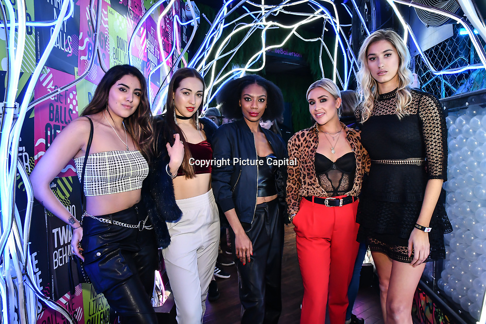 Claudia Sowaha, Chloe Adlerstein, Tonique Campbell, Frankie Maddin and Lilly Douse attend Bachelor girls wrap party after Channel 5 serial of The Bachelor girls 2019 UK  17 desperate female complete to win Alex Marks. Five Eliminated girls continues enjoy the single life party at Balle Ballerson in fact, in the UK there are 1.1 millions female more than male on 27 March 2019, London, UK.