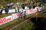Belgium, October 31 2015:  Helen Wyman warms up on the parcours before the elite women's race during the Koppenbergcross 2015 cyclocross event.<br /> Copyright 2015 Peter Horrell.