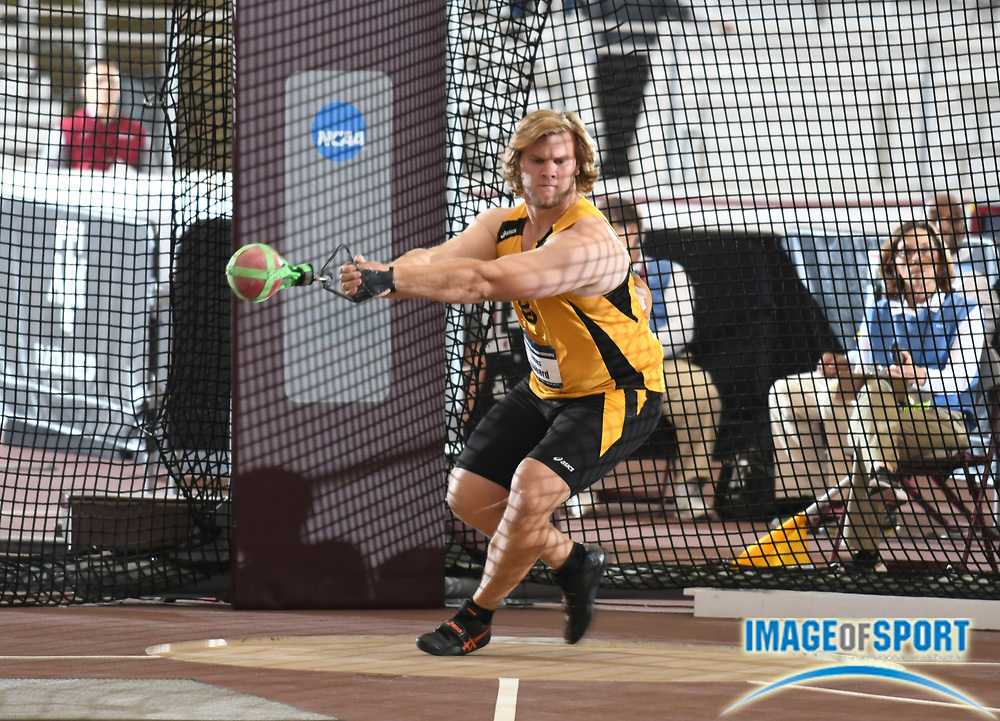 Mar 11, 2017; College Station, TX, USA; James Hubbard of Long Beach State throws in the weight throw during the NCAA Indoor Track and Field Championships at the Rhonda and Frosty Gilliam Jr. Indoor Track Stadium at the McFerrin Athletic Center.