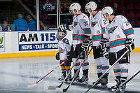 KELOWNA, CANADA - MARCH 9: The Save On Foods Player of the game lines up with the Kelowna Rockets against the Prince George Cougars on March 9, 2016 at Prospera Place in Kelowna, British Columbia, Canada.  (Photo by Marissa Baecker/Shoot the Breeze)  *** Local Caption *** Player of the game;