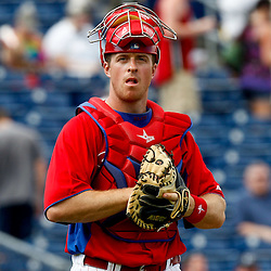 February 29, 2012; Clearwater, FL, USA; Philadelphia Phillies catcher Erik Kratz (31) during a spring training exhibition game against Florida State University at Bright House Networks Field. The Phillies defeated Florida State 6-1. Mandatory Credit: Derick E. Hingle-US PRESSWIRE